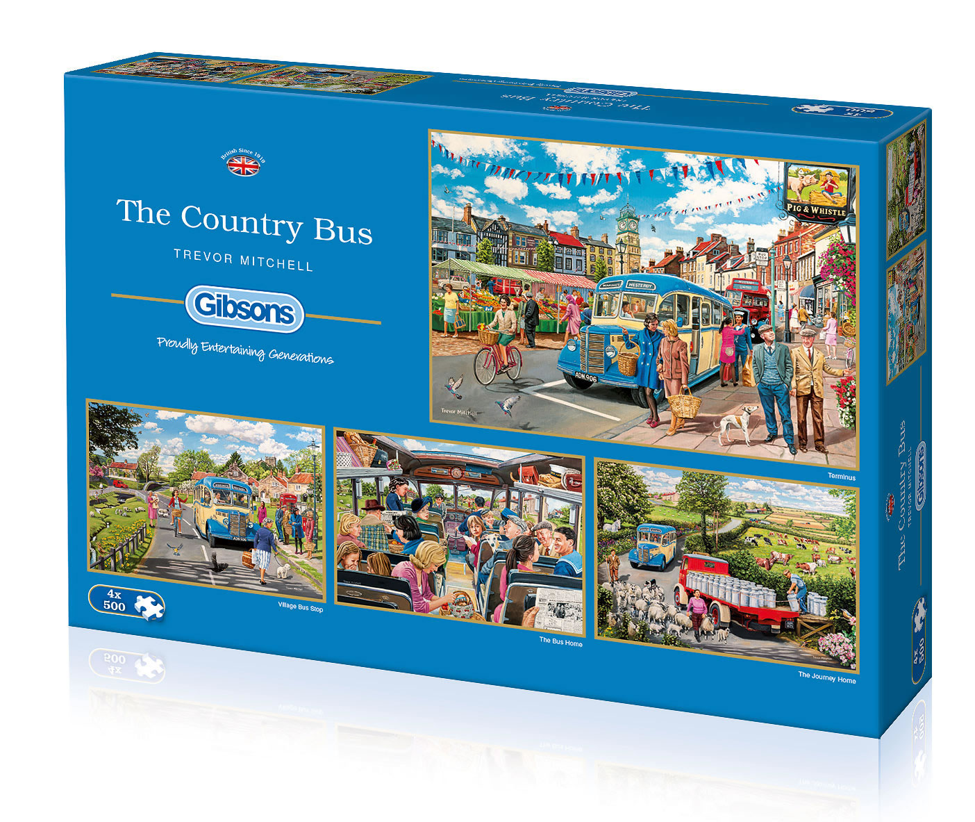 The Country Bus by Trevor Mitchell 4 x 500 puzzle box set